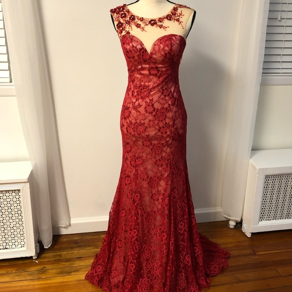 Dave & Johnny Dresses & Skirts - Red Lace Bejeweled Dress (Dave & Johnny)